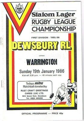 Dewsbury v Warrington 1985/6