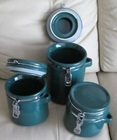 SET OF 3 - DARK GREEN CANISTERS/STORAGE JARS, attached hinged lids, 8 x5 - 5x5 - 4 x 5 - g.condition