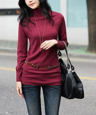 StyleOnMe_Women's Plain Wool Long Turtleneck Knit_Burgundy_Free Size_Korea