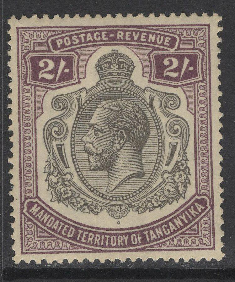 TANGANYIKA SG103 1927 2/= DEEP PURPLE MTD MINT