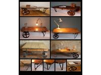 Vintage Industrial Factory Cart Coffee Table - made to order