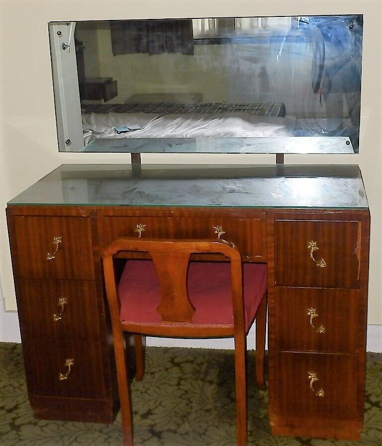 Mahogany Dresser With Mirror And Chair Custom Hand Made 1960s