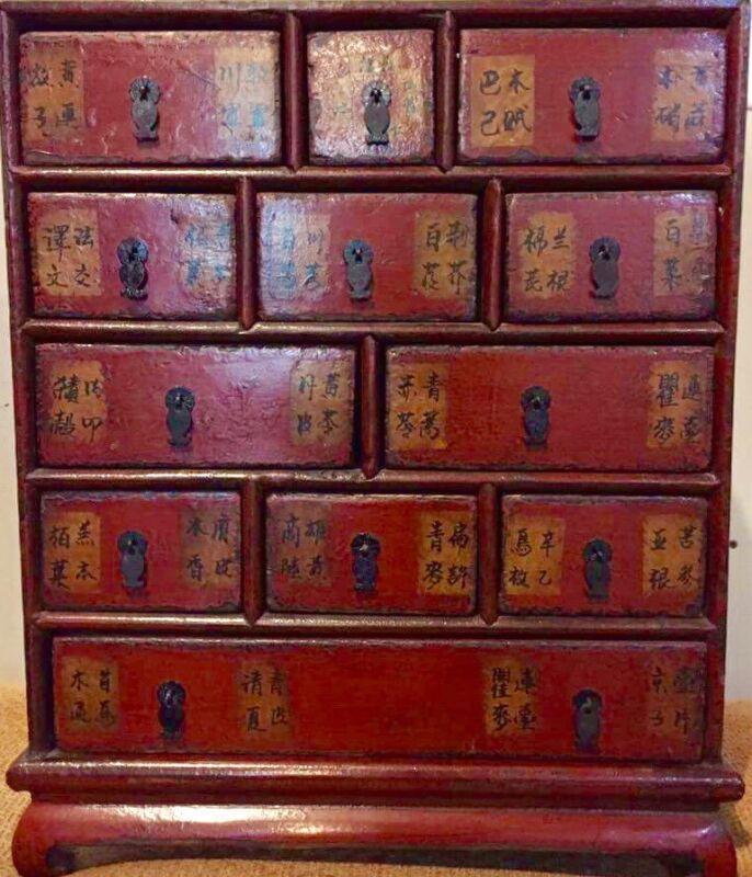 Unique Antique Medicine Cabinet 1850-70 Original Red Lacked Shanxi,Origin Yummy