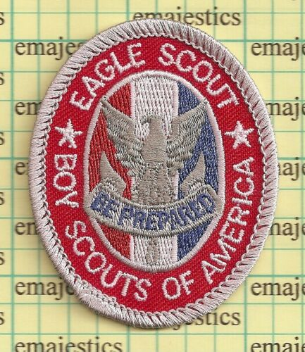 BSA BOY SCOUT EAGLE RANK AWARD PATCH CURRENT TYPE 13 SINCE 1910 WHITE BACK