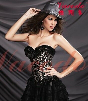 Women Overbust Leopard Print lace up Satin Padded Corset Top Bustier Body Shaper