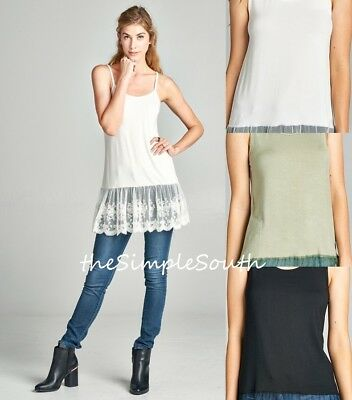 - NWT ODDI Solid Jersey Knit Embroidered Sheer Lace Ruffle Extender Tunic Tank Top