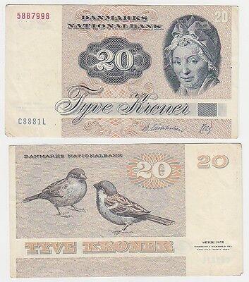 20 Kroner Banknote Dänemark 1972 (115780)