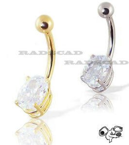 LARGE-CLEAR-CZ-STONE-SILVER-GOLD-BELLY-RING-PIERCING-NAVEL-BAR-14G-BARBELL-B36