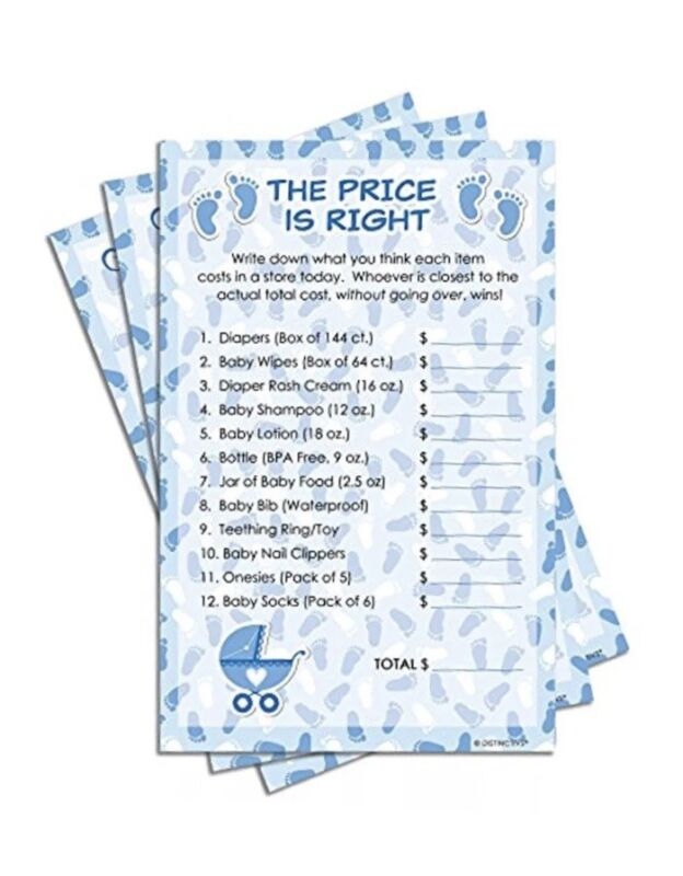 Blue Boy Party Games & Activities Baby Shower The Price Is Right (Set Of 20)