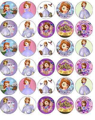 30 x Sofia The First Disney Cupcake Toppers Edible Wafer Paper Fairy Cake Topper - Sofia The First Cupcake Cake