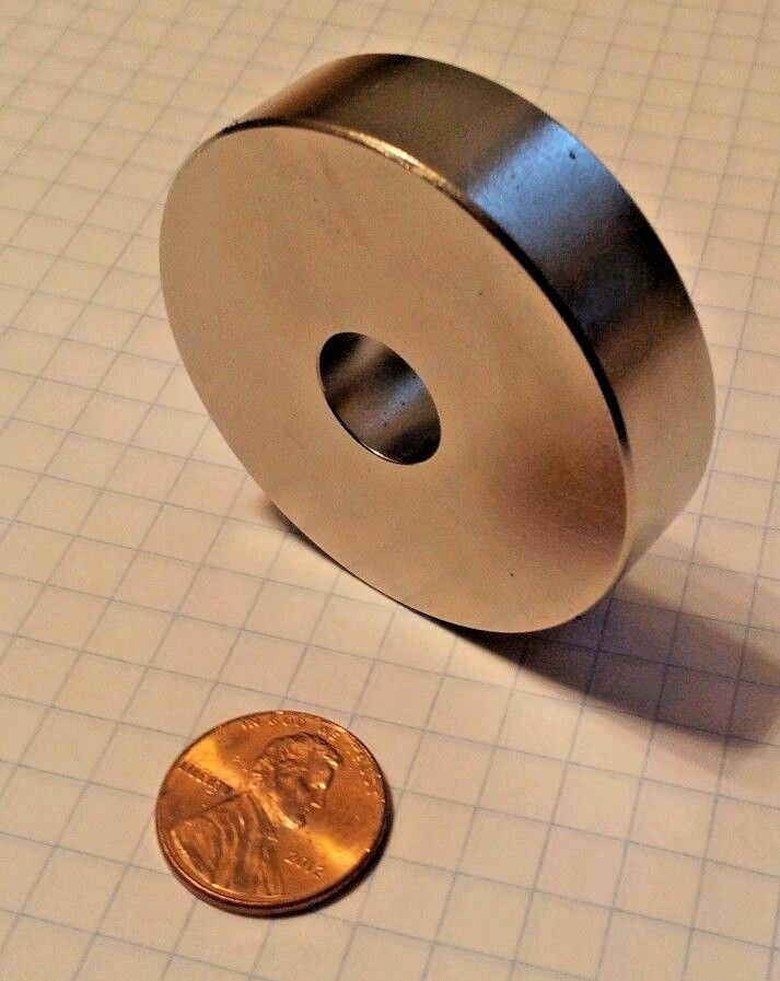 Large Neodymium ring magnet. Super strong N52 rare earth mag
