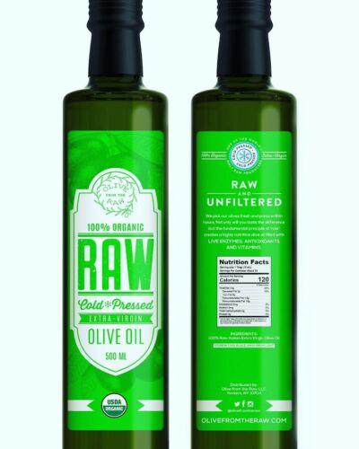 RAW, ORGANIC, UNFILTERED  EXTRA VIRGIN OLIVE OIL. High Polyphenols Dr. Gundry