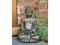 SOLAR BUDDHA ZEN BRASS AFFECT GARDEN DECORATION