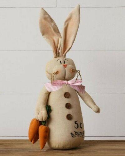 "Primitive Easter Bunny Rabbit 18"" w/ Carrots Doll 18"" Total Farmhouse Spring"