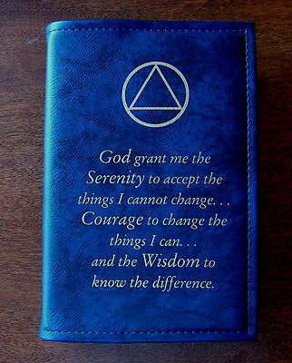 Alcoholics Anonymous AA Big Book Serenity Prayer Symbol Blue COVER Medallion  Big Book Cover