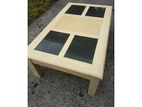 Solid Beech coffee table with slate inserts