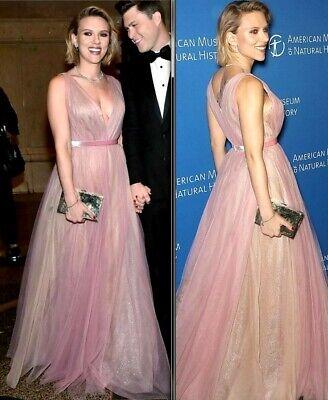 $7,490.00 J Mendel Pink Sequin Embellished Tulle Overlay Dress Gown IT 40 / US 4