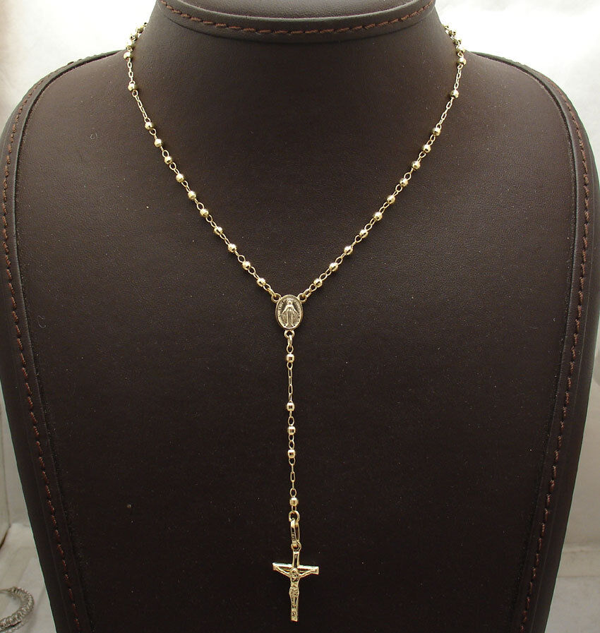 Quot mm rosary chain medal cross crucifix necklace real