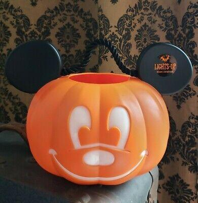 Disney Mickey Pumpkin Jack O' Lantern Halloween Candy Popcorn Bucket Lights Up