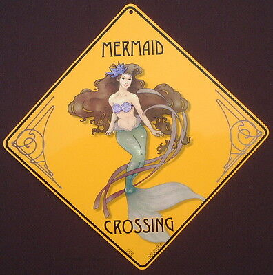 MERMAID  CROSSING Sign aluminum  art  picture novelty decor home signs mermaids