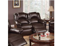 Brown or beige 2 seater reclining couch and 2x reclining arm chairs