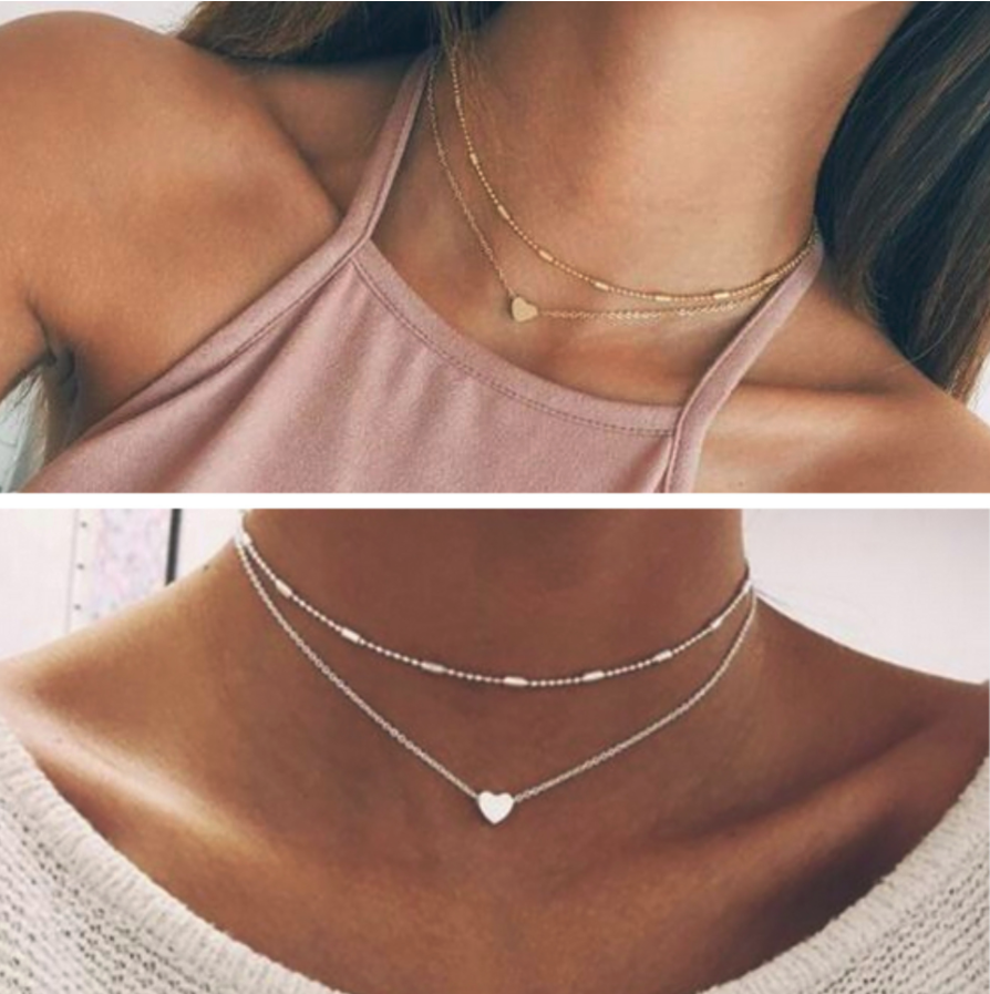 Silver Gold Plated 2 Double Layer Beaded Chain Choker Necklace Heart Pendant Uk
