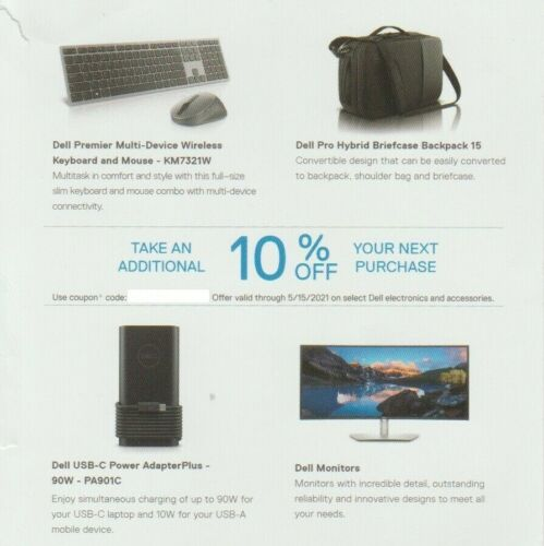 Dell 10% Off Coupon: On Select Monitors And Dell Accessories. Expires 08/15/21