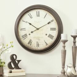 Oversized Large Metal Wall Clock Vintage Look Roman Numeral Big Dials Glass 25