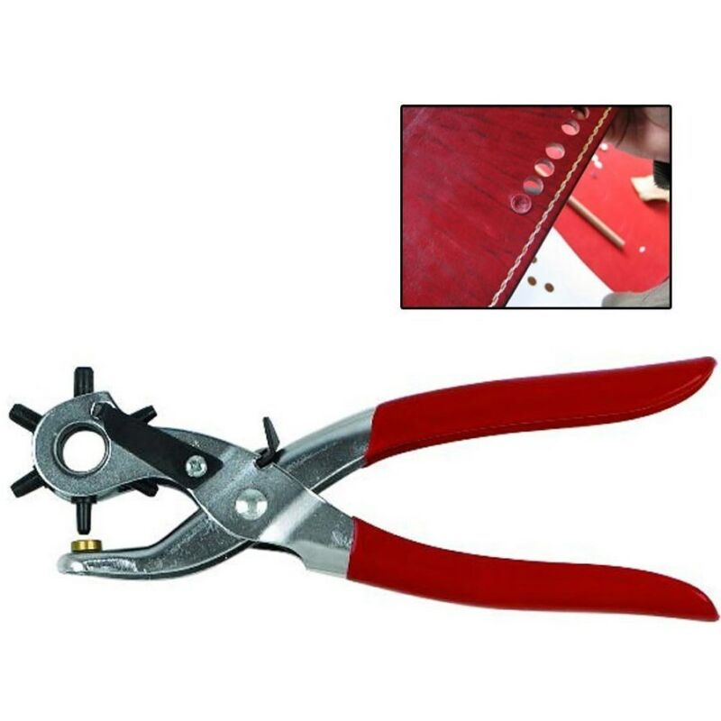 "6 SIZED 9"" HEAVY DUTY LEATHER HOLE PUNCH HAND PLIERS BELT PUNCHES CARBON STEEL"