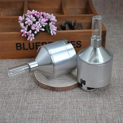 """Powder Grinder 2.12"""" Spice Hand Mill Funnel Snuff Snorter Glass Vial - Metal,NEW"""