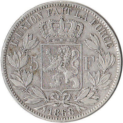 1868 Belgium 5 Francs Large Silver Coin Leopold II KM#24