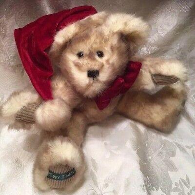TIPPY TEDDY Bear SANTA HAT RED VELVET BOW PLUSH Fur Holiday Mink Christmas