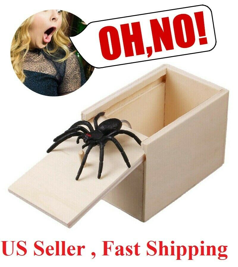 Wooden Prank Spider Scare Box Hidden in Case Trick Play Joke Scarebox Gag Toy Greeting Cards & Party Supply