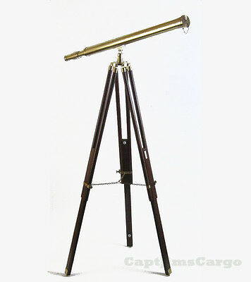 "Harbor Master Telescope Large 38"" Antiqued Finished Brass w/ Wooden Tripod New"