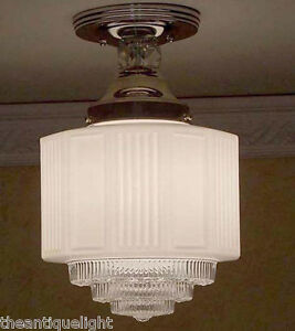 956 Vintage 30 39 S Ceiling Light Lamp Fixture Glass Hall Porch Bath Re Wired Ebay