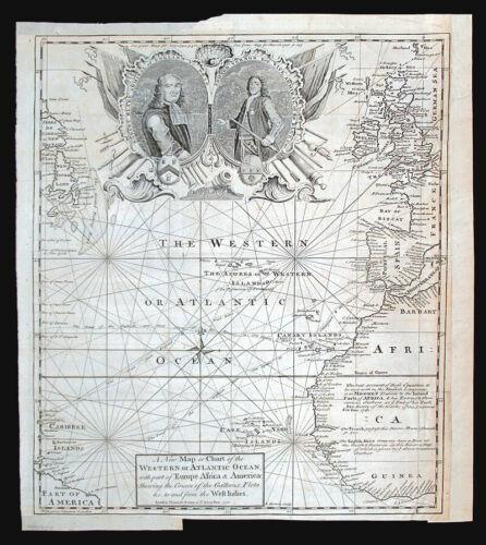 c 1740 BOWEN CHART OF THE WESTERN or ATLANTIC OCEAN, ORIGINAL ANTIQUE MAP