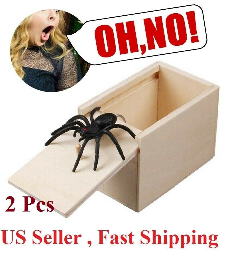 2x Wooden Prank Spider Scare Box Hidden in Case Trick Play Joke Scarebox Gag Toy Greeting Cards & Party Supply