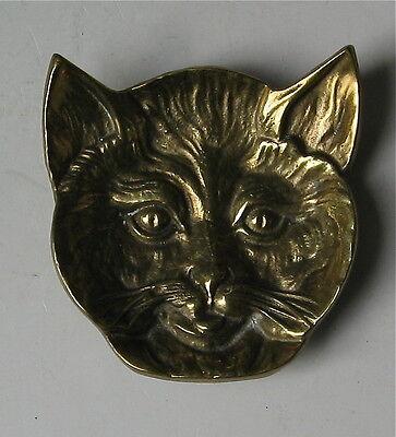 VINTAGE BRASS CAT HEAD STUDY TRINKET DISH