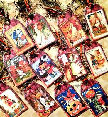 12 Vintage Halloween~Gift Hang Tags~Scrapbooking~Card Craft Making Embellishment - Make Halloween Gift Tags