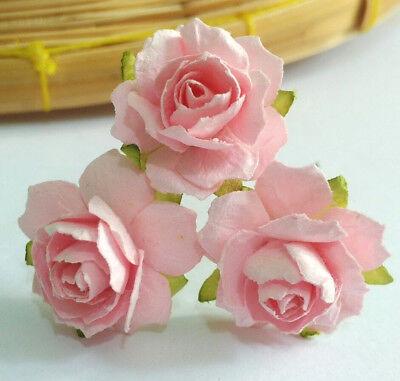 P.Pink Rose Flower Mulberry Paper Scrapbooking Card Crafts Wedding 2.25-2.50cm (Paper Flower Crafts)