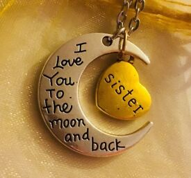 BRAND NEW SISTER I Love You to The Moon And Back Necklace with A Gift Bag £5 Each