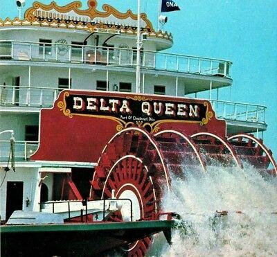 Delta Queen riverboat paddlewheel calliope whistles Vintage Postcard