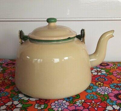 Vintage Kockums Cream and Green Enamel Ware Kettle Teapot 3L