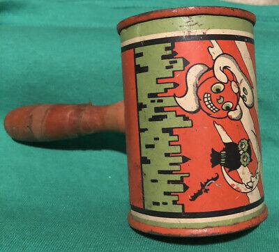 vintage halloween noise maker wooden handle tin witch ghost bat pumpkin owl