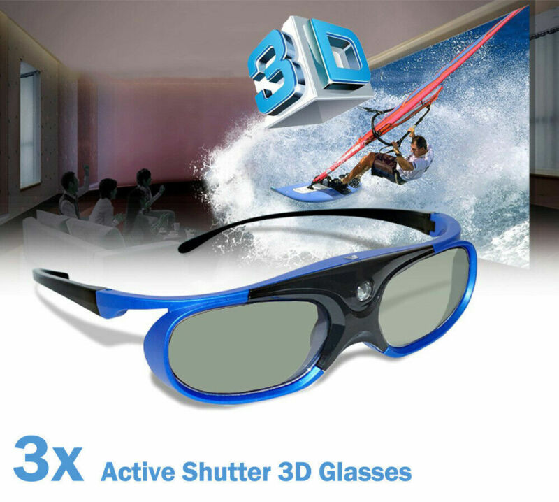 3X USB Rechargeable Active 3D Glasses for All DLP Projector Optoma HD24X BenQ US