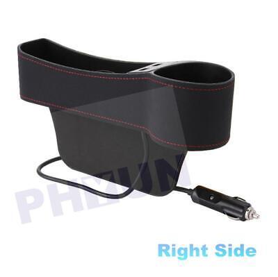 Right PU Leather Car Seat Gap Storage Box Organizer Pocket Dual USB Cup Holder