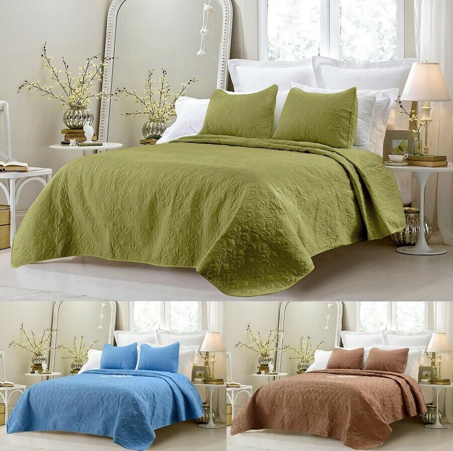 New Cotton Quilted 3pc Coverlet Sets - Blue, Sage Green and