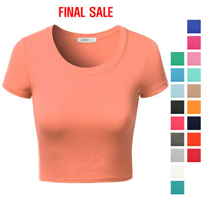 Final Sale Ninexis Womens Basic Short Sleeve Round Neck Crop Top