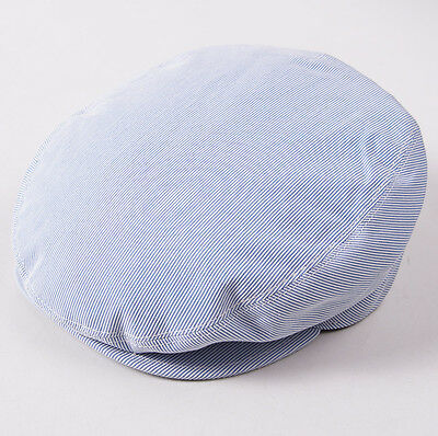 NWT $495 BRIONI Sky Blue Pincord Cotton-Silk Driving Cap Hat M (57cm) Blue Sky Cotton Cap