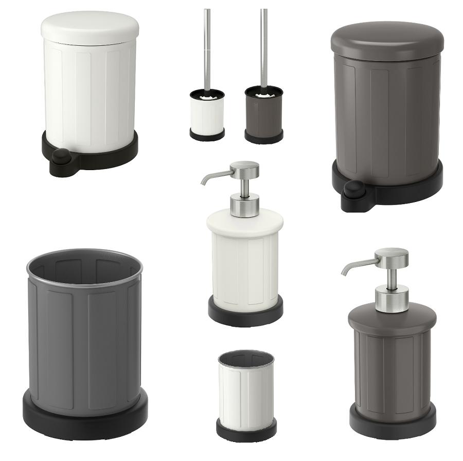 IKEA TOFTAN Serie weiß, Abfalleimer, WC-Bürste, Seifenspender, Zahnbürstenhalter